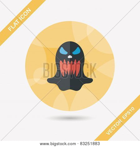 Halloween Ghost Flat Icon With Long Shadow,eps10