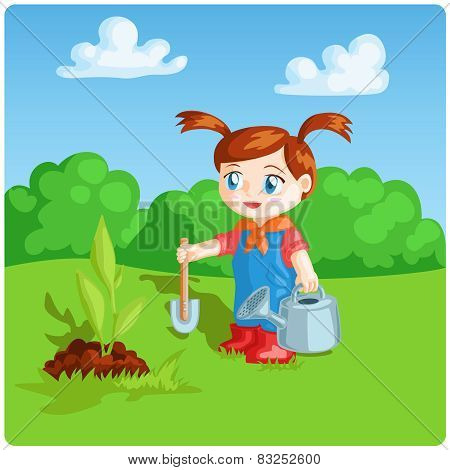 girl doing garden work