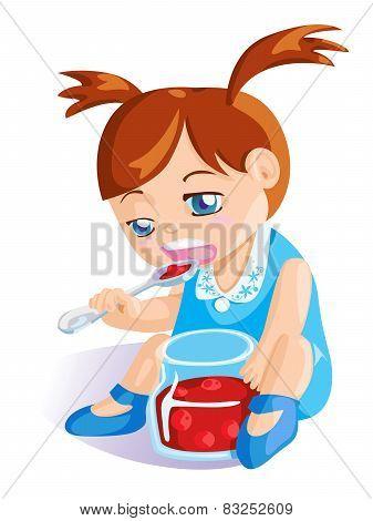 girl eating cherry jam