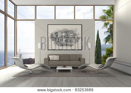 modern mediterranean seaside living room