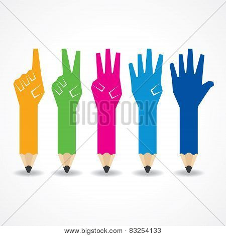 Pencil shows number one to five stock vector