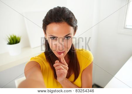 Sexy Hispanic Woman Chatting On Her Phone