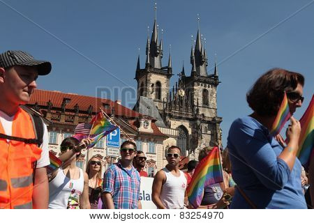 PRAGUE, CZECH REPUBLIC - AUGUST 17, 2013: People attend the Prague Gay Pride Festival in Prague, Czech Republic.