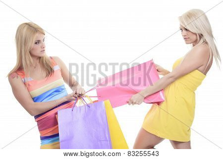 A ungry female shoppers smiling - isolated over a white backgrou