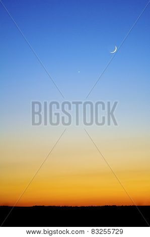 Sunset background with blue and orange colors.