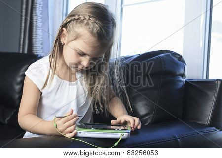 education, school, technology and internet concept - little girl