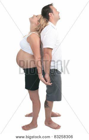caucasian couple expecting baby smiling cheerful isolated studio