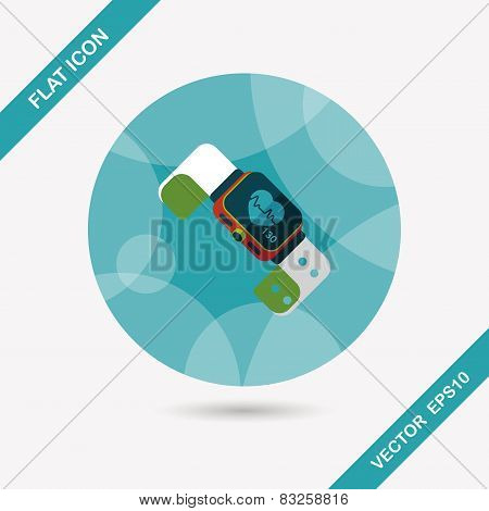 Heart Rate Sport-watch Flat Icon With Long Shadow,eps10