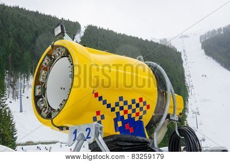 Snow cannon in ski resort