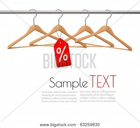 Coat Hangers On A Clothes Rail. Discount Promotion Concept. Vector.