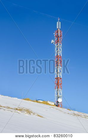 Telecommunications tower radio on snow hill