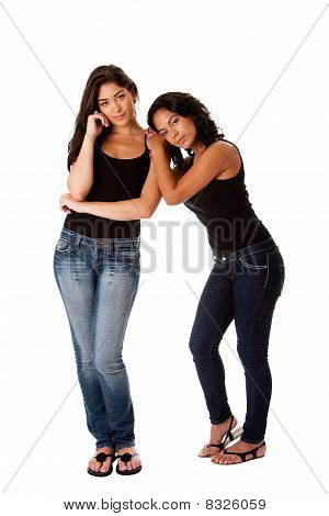 Young Woman Couple Standing