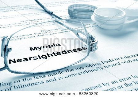 Paper with words  myopia (nearsightedness)