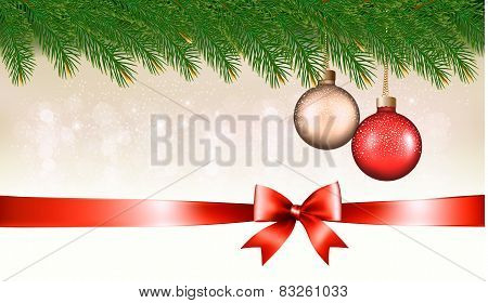 Christmas Background With Baubles, Pine Branches And Ribbon With Bow. Vector Illustration