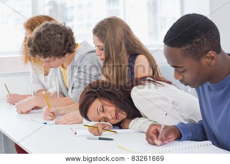 Student dozing during a class at the college