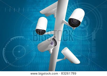 CCTV camera against shiny blue binary code on black background