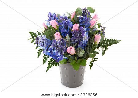 Blue And Pink Flower Bouquet