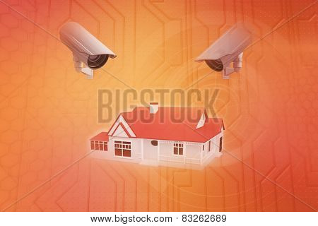 CCTV camera against circuit board on futuristic background