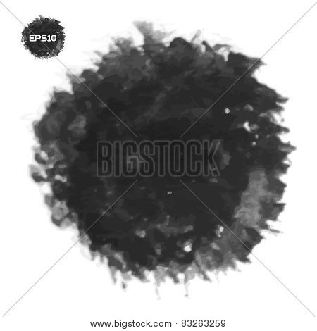 Black spot. Abstract stylish watercolor background.