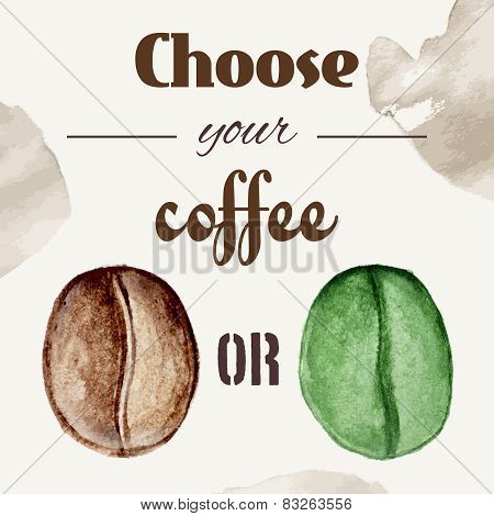 Watercolor coffee beans poster