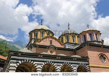 Domes and crosses of the Orthodox Church of Rila Bulgaria