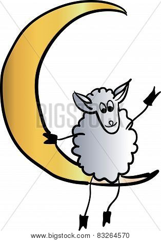 sheep on a star vector illustration