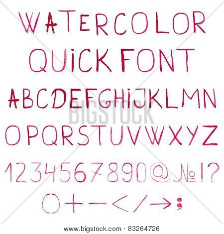 Vector watercolor alphabet with numbers and symbols