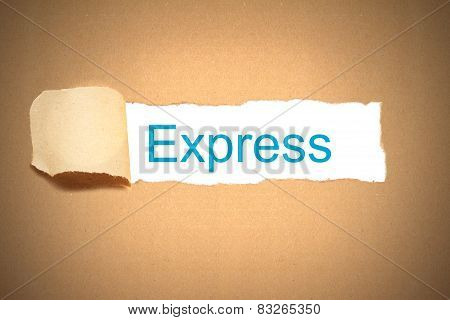 Brown Paper Torn To Reveal Express