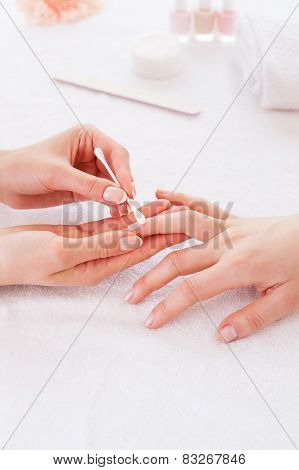 Preparing Nails For Manicure.