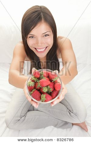 Woman Showing Fresh Strawberries