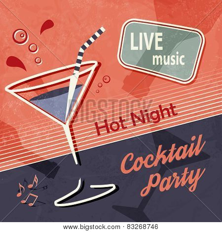 Retro party poster - vintage cocktail background