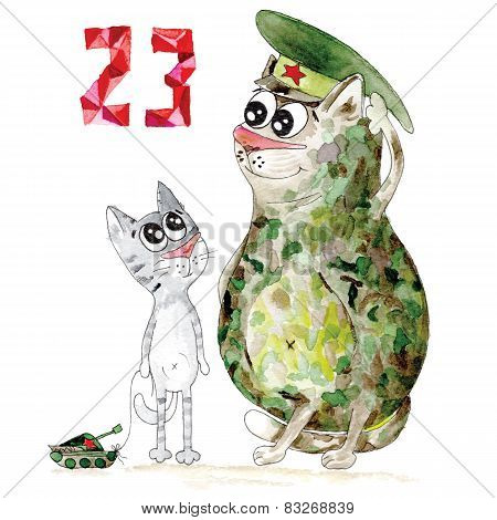 Military cat man day card