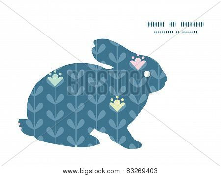 Vector blloming vines stripes bunny rabbit silhouette Easter frame