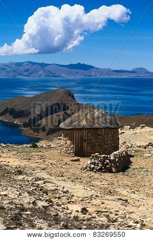 Hut on Isla del Sol in Lake Titicaca, Bolivia