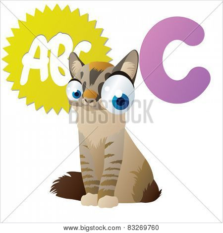 vector isolated cartoon animals abc: C is for Cat