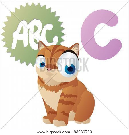 Vector cartoon animal abc: C is for Cat