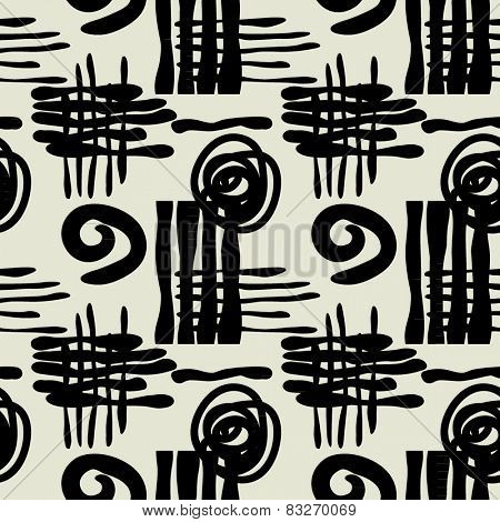 art black graphic geometric seamless pattern, square background with sketched ornament in art deco style