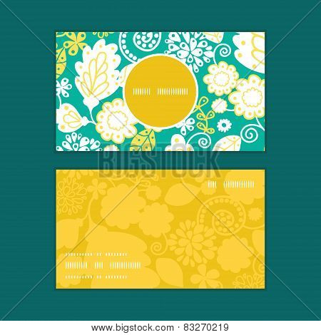 Vector emerald flowerals vertical round frame pattern business cards set