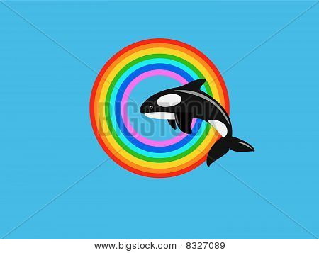 whale jumping in colorful rainbow
