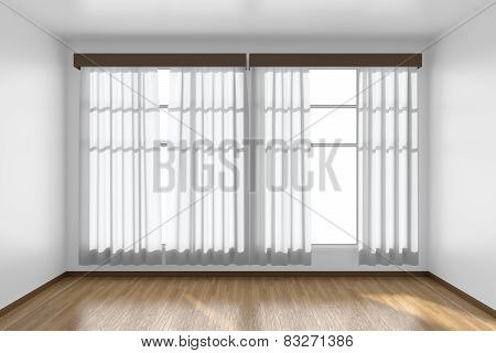 White Empty Room With Flat Walls, Parquet Floor And Window Front View, 3D Illustration
