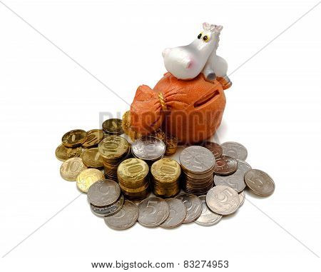 Moneybox  And Gold Coins