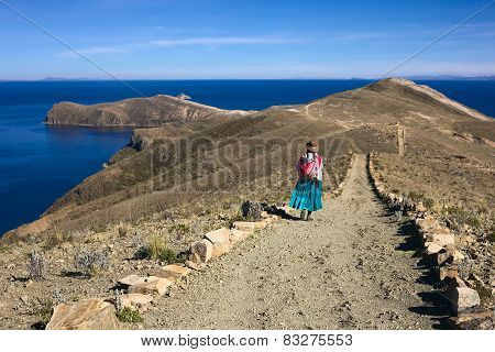 Woman on Path on Isla del Sol in Lake Titicaca, Bolivia