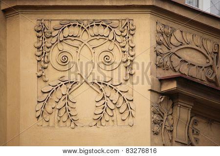 Floral ornamental decoration on the Art Nouveau building in Prague, Czech Republic.