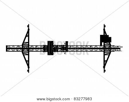 Container Bridge Gantry Crane. Top View Silhouette