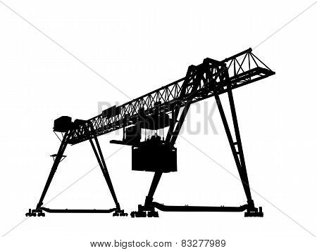 Container Bridge Gantry Crane. Black Silhouette Isolated
