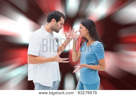 Angry brunette shouting at boyfriend against digitally generated twinkling light design