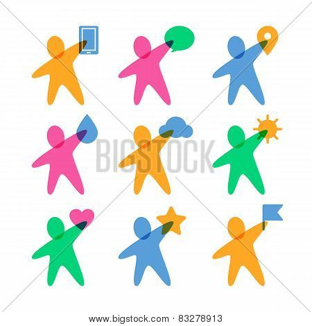Vector Logo Design Template. Set Of Colorful Abstract Happy People With Items. Concept For Social Ne