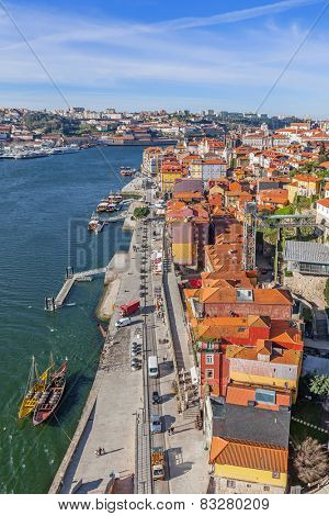 View of the historical Ribeira District and Douro River in the city of Porto, Portugal. Unesco World Heritage Site