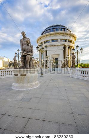 Fantastic sunrise view of Macedonian bridge of ART in Skopje