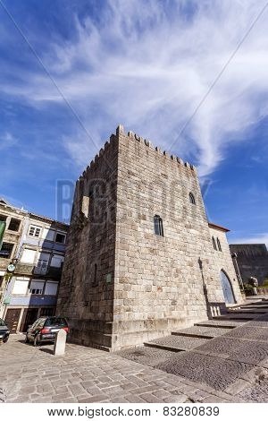 The Medieval Tower of the Dom Pedro Pitoes Street in the city of Porto, Portugal. Romanesque architecture. Unesco World Heritage Site
